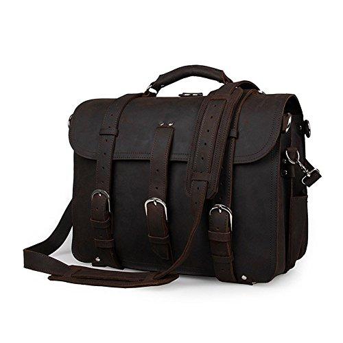 Yimidear® Männer echtes Leder-Schulter-Beutel-Aktenkoffer-Kurier-Taschen-Laptop-Tasche mit Top Handle (Black) Black