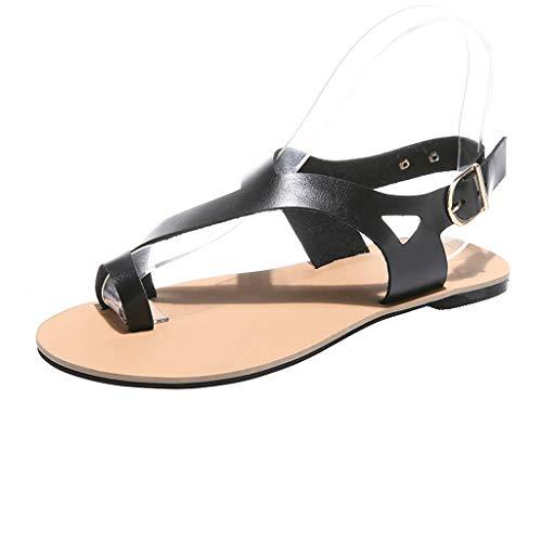 B-commerce Frauen Soft Gladiator Sandalen - 2019 Strand Casual Sommer Schuhe Flache Sandalen Strap Retro Einfache Damen ()