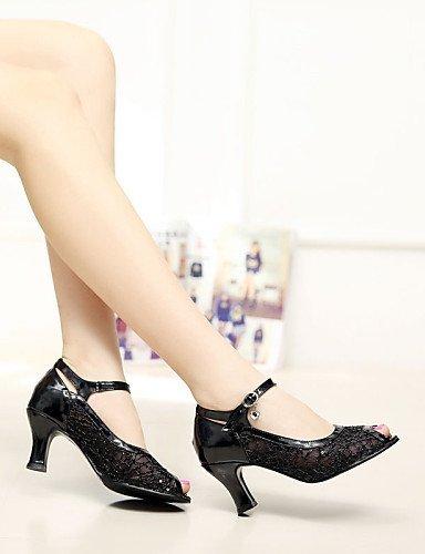 shangyi pas personnalisables–talon compensé–cuir synthétique/paillettes–moderne–Femme noir - noir