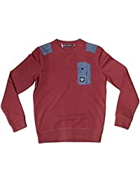 Duck And Cover Ambrose V2 Barn Red Jumper Sweat Shirt Top Designer Smart Casual & Mens DAC130175 - LARGE