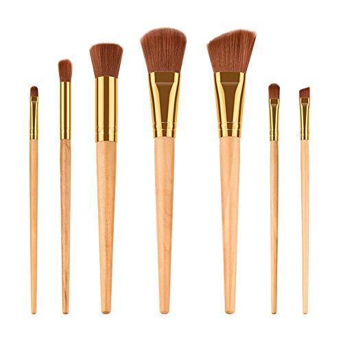 Cdet. 7Pcs Kit De Pinceau Maquillage avec Manche en Bois Brush Cosmétiques Ensemble Fondation Mélange Blush Yeux Visage Poudre Brosse Make Up Style Simple Style Conique Couleur du Bois