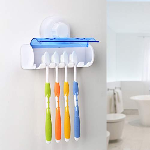 Queta Zahnbürstenhalter mit Saugnapf, Kunststoff, Zahnbürstenhalter für Badezimmer