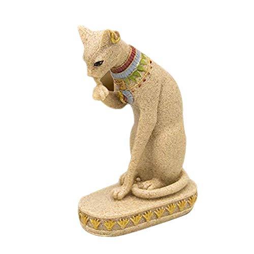 Material: resina. Tamaño: 10 x 6 x 16 cm. Adecuado para salones, dormitorios, oficinas, etc. Ideal para regalos de negocios para amigos y familiares, amigos y amigos. El paquete incluye: 1 x Escultura de gato resina.