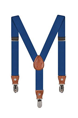 Baby Kinder Hosenträger Einfarbig Gürtel Elastisch Leder 3 Clips Jungen Mädchen Hosen Röcke Tutu Shorts Bequem Träger - Blau (Aus Hosenträger Hose)