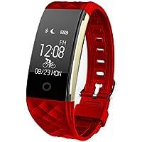 Miya System Ltd Fitness trackers Uhr, Smart Armband IP67 wasserdicht Sport Fitness-Tracker Herzfrequenz Schlafqualität Überwachung Anruf/SMS Erinnert Kompatibel für Android IOS.(Rot)