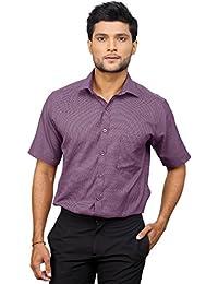 [Sponsored]Zeal Men's Checkered Formal Purple And White Regular Fit Half Sleeve Shirt