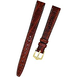 Deer Leather Brown Watch Strap with Beige Stitching 12 mm New 8797