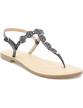 Toocool - Scarpe donna sandali infradito gioiello strass ciabatte flat Queen Helena 6002
