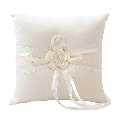 Ringkissen Hochzeit mit Blüte in Ivory, Kissen für Trauringe mit Steinchen und Perlen, quadratisch 19,5 x 19,5 cm, creme