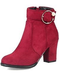 SHOWHOW Damen Schleife Knöchelhohe Stiefel Damenstiefel Rot 37 EU