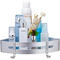 Gricol Badezimmerablage Duschregal Ablage nagelfrei Keine Beschädigung, patentierter Kleber + 3M-klebend, Aluminiumfläche, rostfrei Korb für Küchen- und Badezimmerzubehör