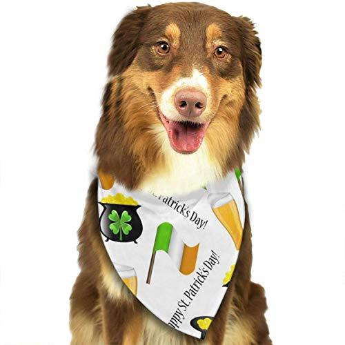 Kaixin J St. Patrick's Day Irish Shamrock Pattern Stylish Dog Bandanas Bibs Scarfs Pet Scarfs Cats Dog Scarf -