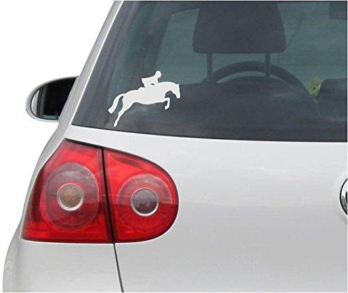 Aufkleber / Autoaufkleber - JDM - Die cut - Jumping Horse Decal Hunter Jumper Fox Hunt Car Sticker - silber - 114mm x88mm (Baby Pferd Jumper)