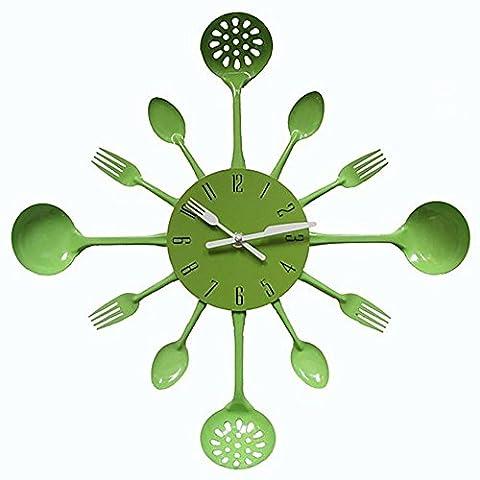 MCC 15,74 pouces Cuisine en métal Cuisinière Ustensile Horloge murale Cuillère Fourche Décoration intérieure Wanduhr horloge murale Vert