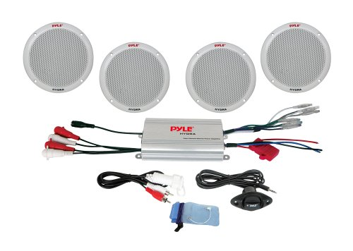 Pyle 4-Kanal-Wasserdichter MP3-/ iPod-Verstärkter 6,5-Zoll Marine-Lautsprecher-System