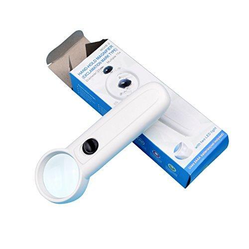 Babimax Handlupe mit LED Beleuchtung 15 fach Vergrößerung Durchmesser 37mm Lesehilfe Glaslupe für Senioren elektronische Reparatur zum Lesen Inspektion Hobby Handwerk (Weiße Schmuck-fach)