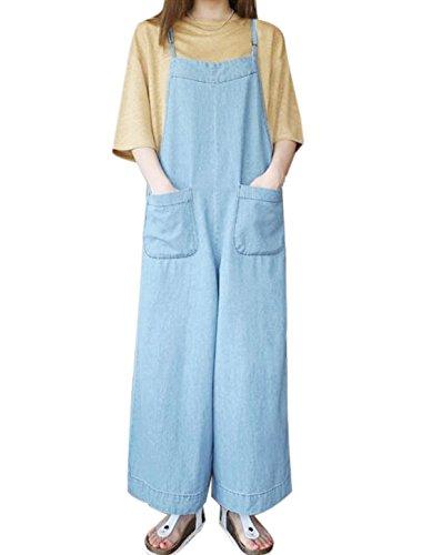 sourcingmap Femme Poches Front Jambe Large En vrac Jarretelle Pantalon Bleu