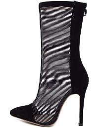 79c5d02e87daf KPHY Zapatos de Mujer La Primavera De 2019 Malla Velo Altura del Tacon 12  Cm Sandalias Barril En Punta Tacon Delgado Botas Treinta…