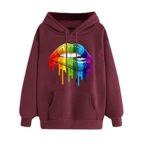 ZHJA Neue Frauen Süße Regenbogen Candy Farbe Plus Samt Hoodie Langärmeligen Europäischen Und Amerikanischen Pullover Frauen Lippen Gedruckt Lose Pullover -