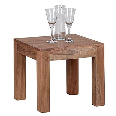 Wohnling Table basse en bois massif d'Acacia marron 45cm de large table de salon design style maison de campagne Table d'appoint naturel Produit de salon meubles unique moderne Massivholzmöbel carré en bois véritable