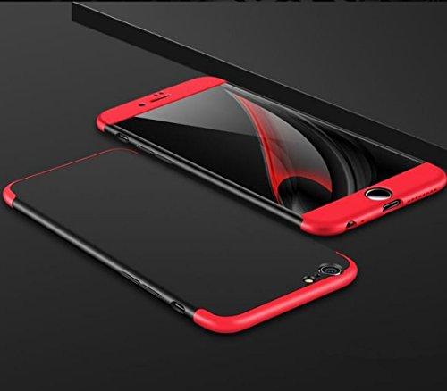 Qissy®3 in 1 Ultra Dünner PC Harte Case 360 Grad Schutzharte iPhone 6 Plus 6s Plus Fall Premium mattierte Schutzhülle (iPhone 6 Plus 6s Plus, Schwarz + rot) Schwarz + rot