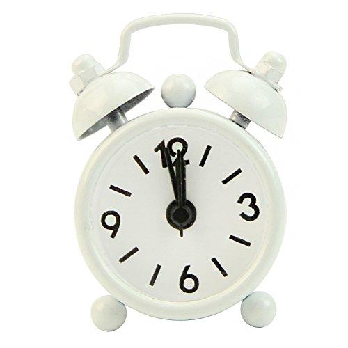 Dairyshop Portable Cute Mini Cartoon Twin Bell numéro de téléphone Round Desk Wake Up Clock avec alarme haute (blanc)