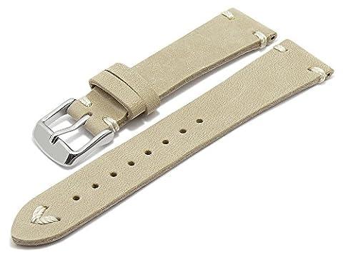 Meyhofer Uhrenarmband Tamworth 20mm beige/sand Leder Vintage-Look helle Naht MyHeklb232/20mm/beige/hN