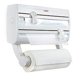 Leifheit Wandrollenhalter Parat F2 ComfortLine-Serie für insgesamt 3 Rollen, Folienschneider mit Abstellfläche für Gewürze und abnehmbarem Küchenrollenhalter, weiß