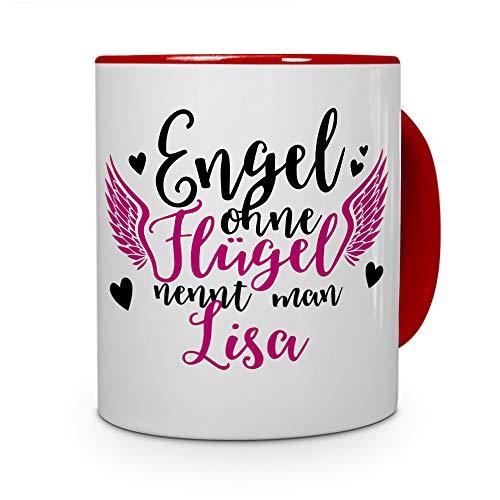 printplanet Tasse mit Namen Lisa - Motiv Engel - Namenstasse, Kaffeebecher, Mug, Becher, Kaffeetasse - Farbe Rot