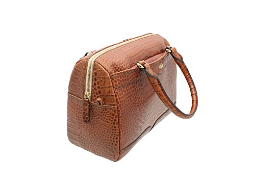 Tula EVERGLADE Collezione Croc Leather Stampa Barrel Bag 8088 Tan Tenné