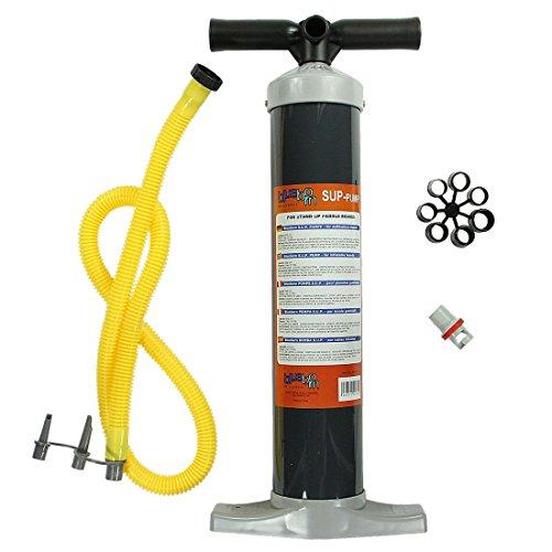 Blueborn Hochdruck SUP Pumpe 1 bar Luftpumpe Kolbenpumpe für Hochdruckventile von Stand Up Paddle Boards + 3 Adapter Luftdüsen Aufsätze für aufbalsbare Artikel wie Luftmatratze Luftbett Pool etc