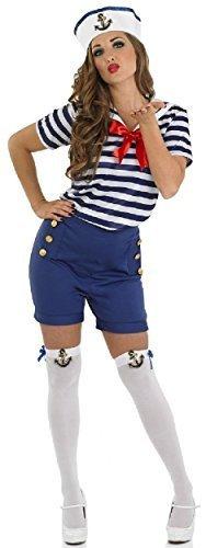 Damen Sassy Marine Seemann Militär Uniform Kostüm Outfit -
