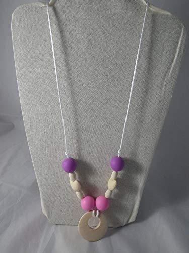 Collier de portage/allaitement violet et rose