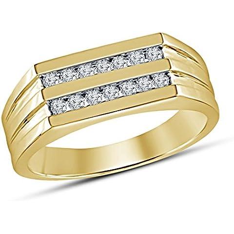 Vorra Fashion Nuovo argento 925placcato oro 14K 1.21ct taglio rotondo CZ fidanzamento anello da uomo - 5 Row Band Ring