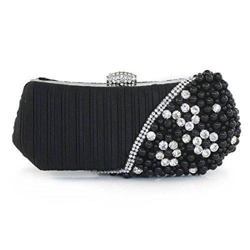 Frauen Satin-Kupplungs-Abend-Kupplungs-Geld Hochzeit Prom Handtaschen Black