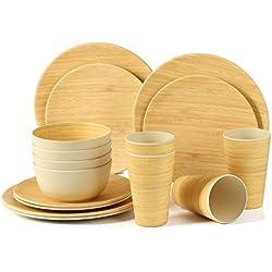 LEKOCH Juego de vajilla de bambú Biodegradable y Respetuoso con el Medio Ambiente para 4 Platos, 4 Platos de Ensalada, 4 Cuencos de Sopa y 4 Vasos de Bebida, Juego de 4