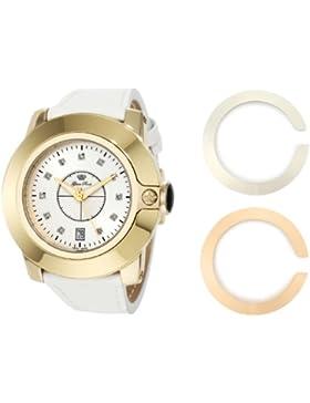 Glam Rock Unisex Quartz-Uhr mit weißem Zifferblatt Analog-Anzeige und Lederband 0.96.2589