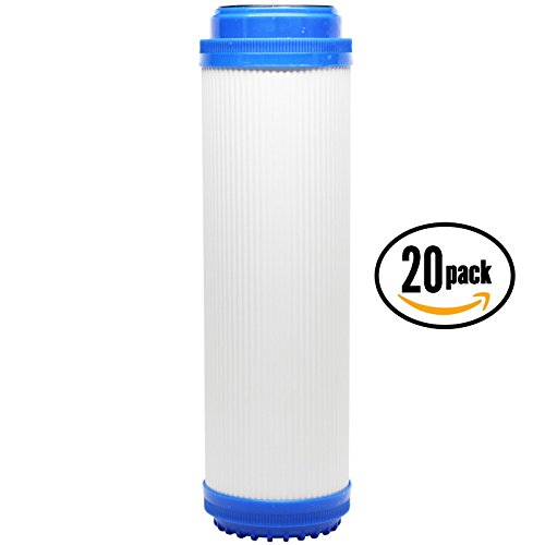 20er Pack Ersatz H2O einzelhandelslieferanten adwu-d Granulat Aktivkohle Filter–Universal 25,4cm Tintenpatrone für H2O einzelhandelslieferanten Flowmatic adwu-d unter Waschbecken Wasser Filter–Denali Pure Marke