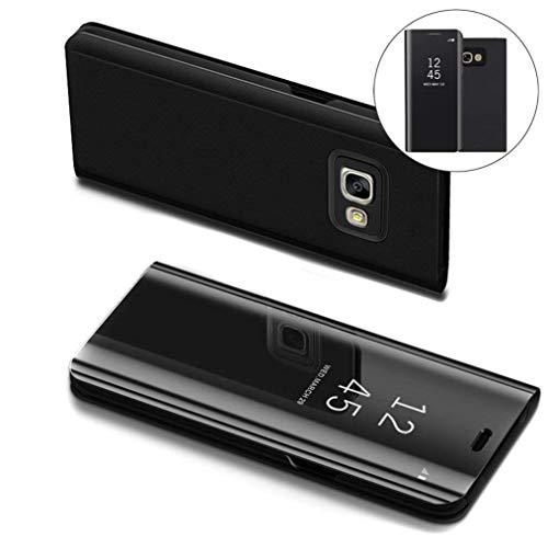 COTDINFOR Samsung J5 Prime Hülle Ledertasche Handyhülle Slim Clear Crystal Spiegel Flip Ständer Etui Hüllen Schutzhüllen für Samsung Galaxy On5 2016 / J5 Prime SM-G570F Mirror PU Black MX.