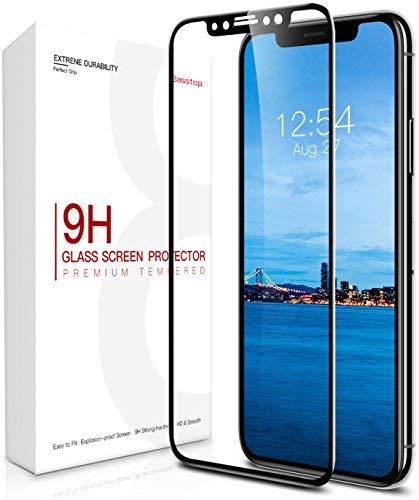Protector de pantalla iPhone X, Protector de Pantalla de Vidrio Temperado Premium con Curvatura 3D de Basstop con [Dureza 9H] [Crystal Clear] [Instalación sin burbujas] [Resistente a Rasguños] [Compatible con 3D Touch] para Apple iPhone X