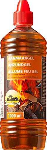 Grill Anzünder Gel für alle Arten von Kohle - Brennpaste 1000 ml Tischgrill flüssiges Anzündgel Feuergel für Grill und Kamin geruchlose Brennpaste (1 Liter)