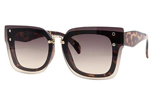 Cheapass Sonnenbrille Braun Schwarz Groß Cat-Eye XXL Leopard-Print Designer-Brille Plastik Damen Frauen Mädchen (Print-damen-sonnenbrillen)