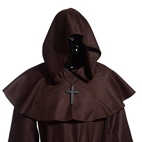 BLESSUME Medieval Hooded Cowl Cross Necklace (marrón)