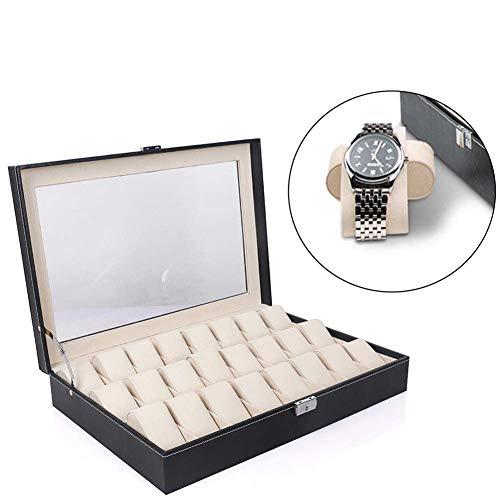 ZGYQGOO Uhrenbox Uhrenbox Aufbewahrungsbox für 20/24 Uhren, Uhrenbox, Schwarz mit PU Lederarmband, Armreif Displayablage