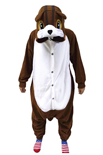 wotogold Tier Eichhörnchen Pyjama Unisex Erwachsene Cosplay Kostüme Brown (Kind Eichhörnchen Kostüm)