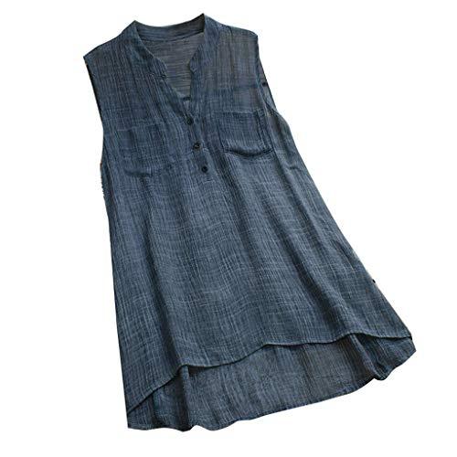 Frauen Lose V Ausschnitt Leinen Soild Knopf Ärmellose Tasche Freizeithemd Bluse Tops Dünnes, Ärmelloses T Shirt Mit Knopfleiste Aus Baumwolle Und Leinen -