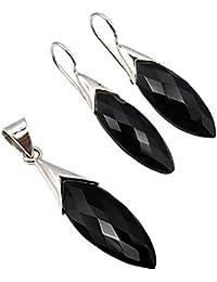 Exklusives Set Anhänger & Ohrhänger Schwarzer Onyx 28.9 Karat eingefasst in 925 Sterling Silber in Juweliers- Qualität
