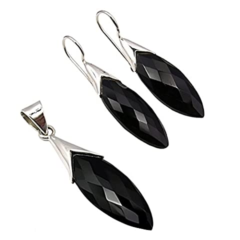 Unique jewellery set pendant earrings black onyx 31.4 carat 925 sterling silver art nouveau jeweller's quality