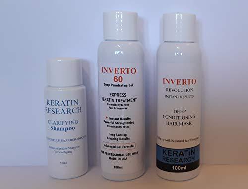 Organiq Brasilianische Keratin INVERTO 60 Haar Glättung Glättung Behandlung Blowout hair treatment Formaldehydfrei 1x100ml+100ml Kit+50 ml Clarifying Shampoo