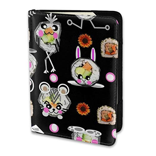 Black Sushi (Passport Holder Cover Black Sushi Kawaii FQ Wallet Credit Card Set Blocking Leather Card Case Travel Accessories for Women Men)